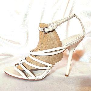 HERVE LEGER Beige strappy heels. EU 39.